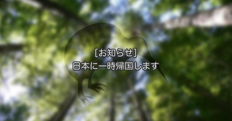 [お知らせ]日本に一時帰国します